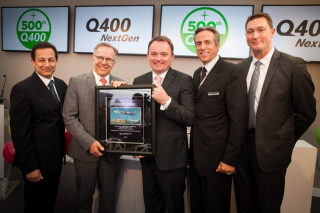 Celebrating over 500 firm orders for the Q400 turboprop