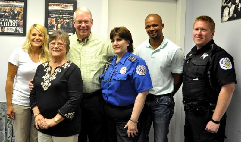 (L-r) Raquel Prendkowski; Dianne Anderson; Wade Anderson; Regina Swain, TSA; Jacob Neal, TSA and Pat McGrath, CPD
