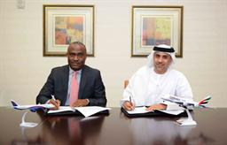 From left, Chris Ndlulue, Arik Air's Managing Director, and Adnan Kazim, Emirates Divisional Senior Vice President, Planning, Aeropolitical and Industry Affairs