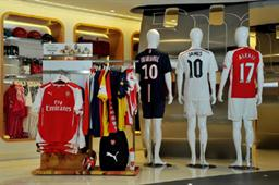 Fans of Arsenal, Real Madrid, Paris Saint-Germain and AC Milan can choose from a wide selection of football fan ware at the Emirates Official Stores.