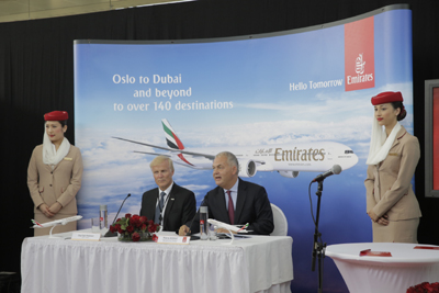 Thierry Antinori EVP and Chief Commercial Officer Emirates and Dag Falk-Petersen CEO of Avinor in Oslo Airport.