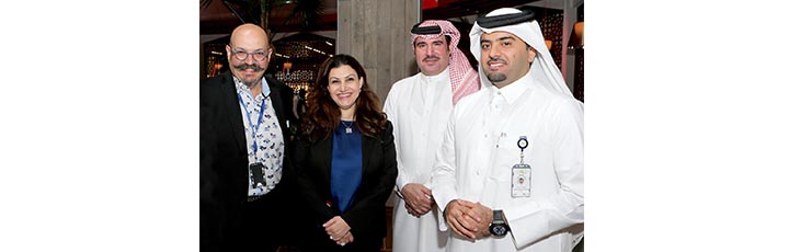 Pictured at the official opening of Soprafino restaurant at HIA are from left: Celebrity Chef and Partner Massimo Capra; Qatar Airways Senior Vice President Salam Al Shawa; HIA Vice President Commercial Abdulaziz Al Mass; and HIA Chief Operating Officer Badr Al Meer.