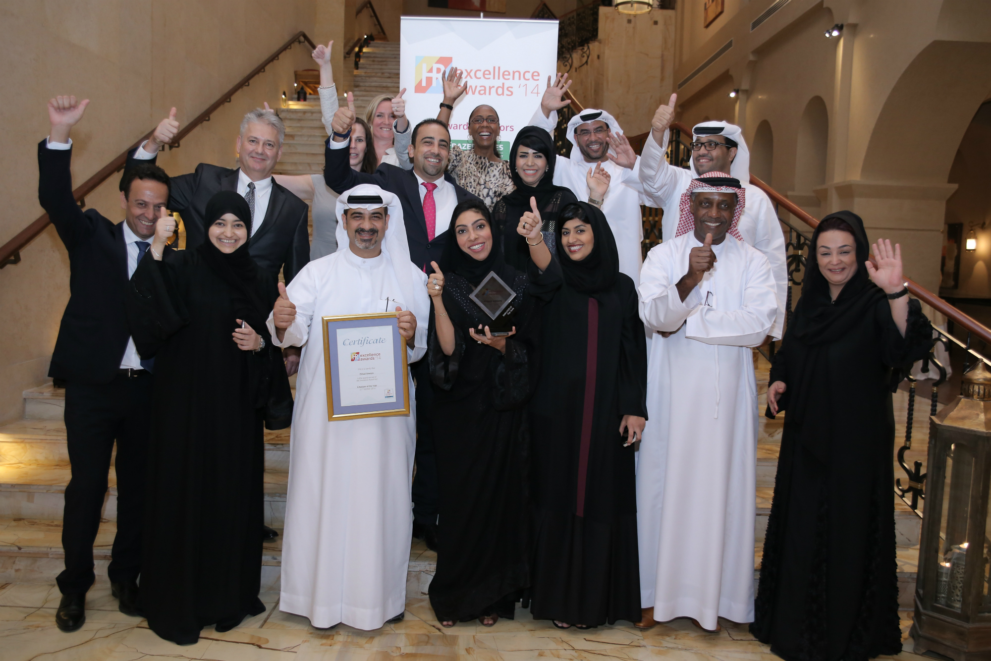 Etihad Airways collected the 'Employer of the Year' award at the Middle East HR Excellence Awards 2014 in Dubai last night.