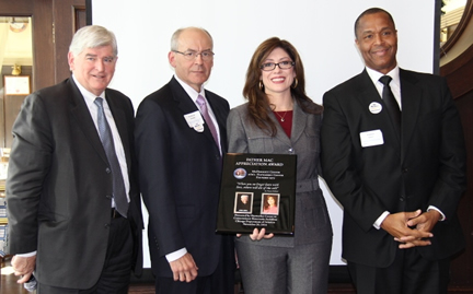 (Left-right) Lee Daniels, Chairman, Haymarket; Ray Soucek, President/CEO, Haymarket;  Rosemarie S. Andolino, Commissioner, CDA, and Steve Davis, Chairman, DuPage Airport Authority/Emcee at the 2014 Father Mac Appreciation Award Luncheon - Photo courtesy Kasia Loniewska