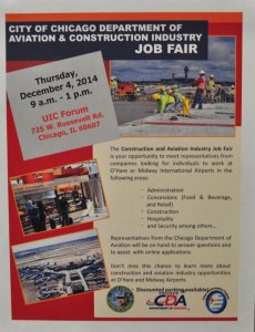 The City of Chicago Department of Aviation to host aviation and construction job fair on December 4, 2014