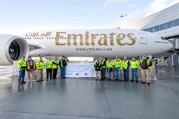 A consignment of critically-needed blankets and sleeping bags are loaded onto Emirates Airline's newly delivered Boeing 777-300ER (Extended Range). Boeing partnered with Emirates Airline and US-based non-profit organization, Another Joy Foundation, to help transport the cargo to underprivileged people in Iraq who are not equipped to face the bitterly cold weather conditions.