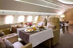 Spacious interiors of Emirates Executive, luxury private jet