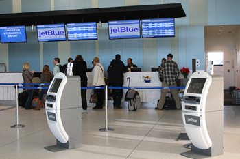 United Airlines and JetBlue Airways are the first to make into new ticket counters at Charleston International Airport
