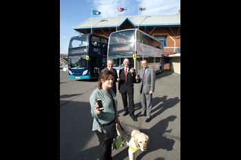 Pictured with regular bus user and advisor to the Next Stop Announcement app project, Claire Randall is (L-R) CPT Chairman Ian Morgan, Paul Matthews, Managing Director of First West Yorkshire and Nigel Featham, Regional Managing Director, Arriva
