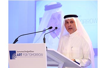 Qatar Airways Group Chief Executive, His Excellency Mr. Akbar Al Baker, delivers a keynote speech at the New York Times Art for Tomorrow Conference in Doha