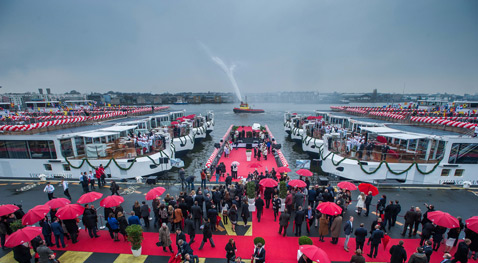 Viking River Cruises welcomed 12 new river vessels to its fleet at simultaneous christening ceremony in Amsterdam and Rostock, Germany