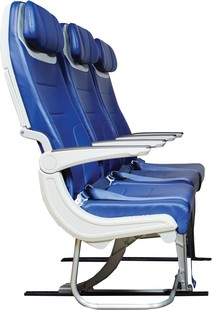 Southwest Airlines' new aircraft seat A raised rear beam and curve in the lower rear seat allow for increased shin and leg clearance.