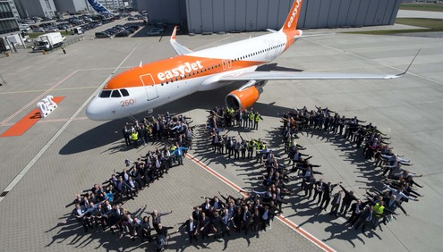 easyJet and Airbus celebrated the delivery of the airline's 250th Airbus A320 family aircraft at a ceremony in Hamburg