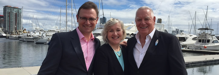 Photo from left: John O'Sullivan, Tourism Australia; Leanne Coddington, Tourism & Events Queensland; Paul Donovan, Gold Coast Tourism