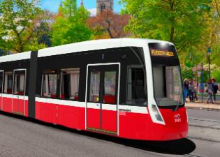 3D rendering of the FLEXITY Vienna tram for Vienna, Austria