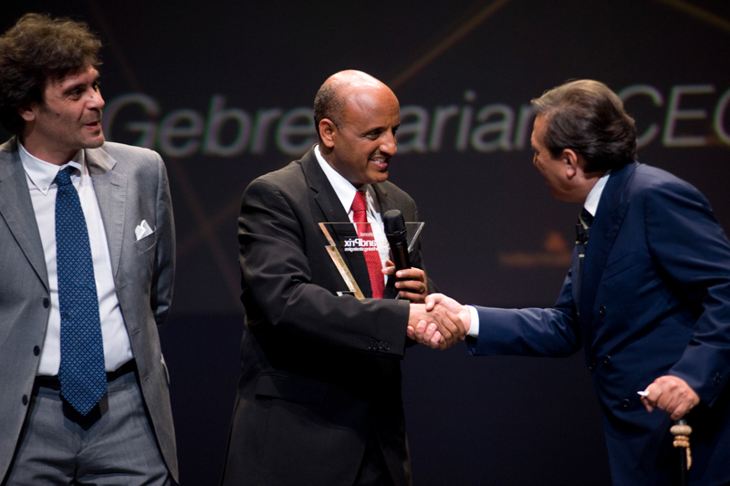 Mr. Tewolde while receiving the award in Milan