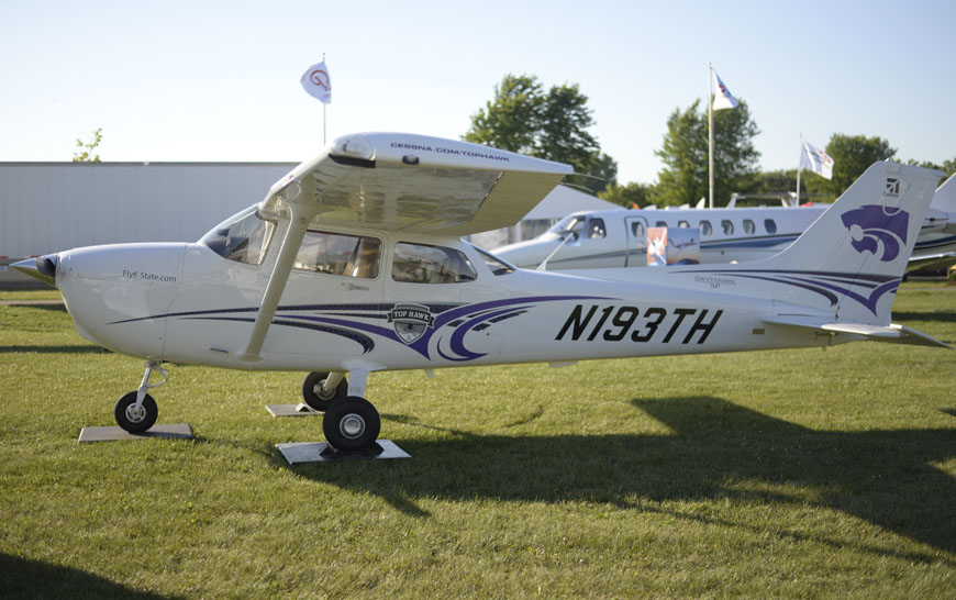 Cessna Aircraft Company showcases two of the Top Hawk-branded Cessna Skyhawk aircraft at the Experimental Aircraft Association AirVenture in Oshkosh, Wisconsin