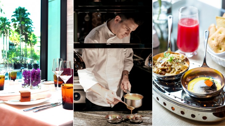 Pictures from left: Dine with a view at Brasserie Europa; new Executive Sous Chef Carlo Valenziano in action; and two of the new main courses – Maine lobster ravioli and French duck ragout fettuccini