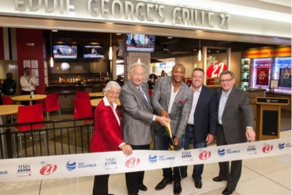 Cutting the ribbon, from left to right: Elaine Roberts, President & CEO, Columbus Regional Airport Authority; William R. Heifner, Vice-Chair, Columbus Regional Airport Authority Board of Directors; Eddie George, Heisman Trophy winner, entrepreneur, restaurateur; Bob Burness, CEO, G.R.E.A.T. Grille Group; Kent Vanden Oever, VP, Business Development, HMSHost.