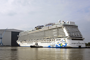 Norwegian Cruise Line's soon to be largest ship in its fleet Norwegian Escape floated out from its building dock in Germany