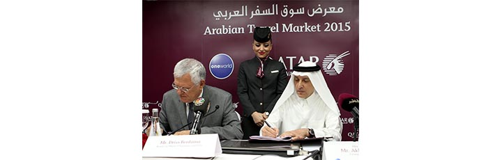 Qatar Airways Group Chief Executive, His Excellency Mr. Akbar Al Baker (right) and Royal Air Maroc Chairman and CEO, Mr. Driss Benhima signing the Joint Business agreement during a press conference at ATM Dubai in May this year.