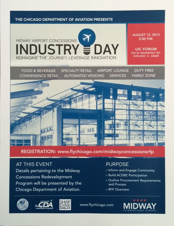 The Chicago Department of Aviation will host Midway Airport Concessions Industry Day on Wednesday, August 12, 2015