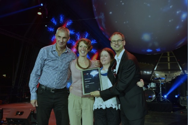 Celebrating Transavia's confirmed frequency increase and being Highly Commended at World Routes Marketing Awards in Durban last night, Budapest Airport's Airline Development Managers, Sándor Saly and Eszter Almási, and Head of Airline Development, Balázs Bogáts (far right), with Katie Bland, Director Routes, UBM.