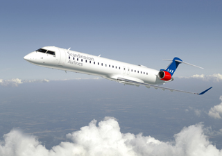 Bombardier CRJ900 aircraft in SAS livery