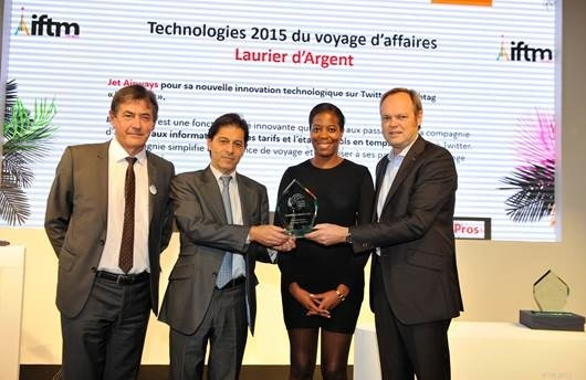 "Jet Airways wins ""Laurier d' Argent"" award in the ""Technology for Business Travel"" category at the International French Travel Market trade fair in Paris"