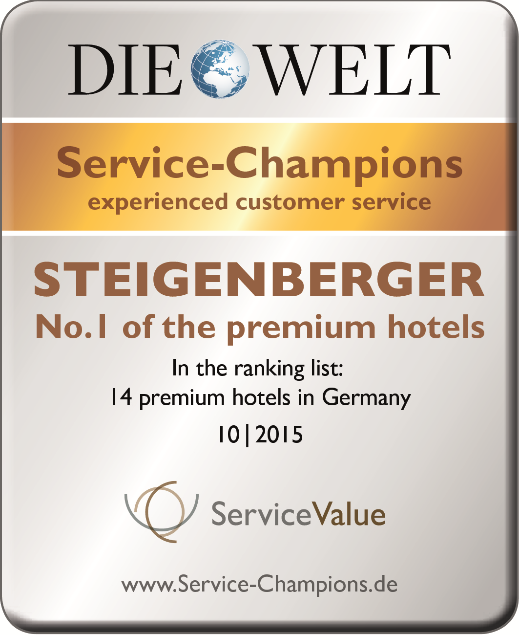 """Steigenberger Hotels and Resorts won """"Service Champion Award"""" for the fourth time in a row"""