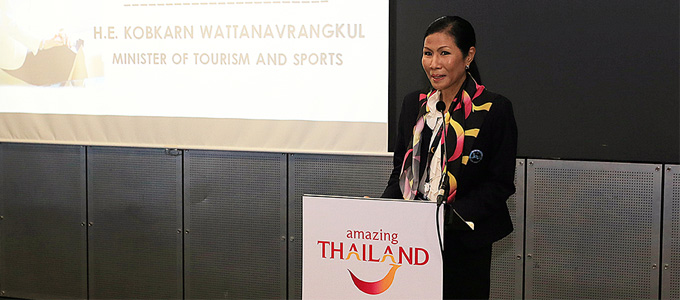 H.E. Kobkarn Wattanavrangkul, Minister of Tourism and Sports, at the Thailand Networking Lunch for buyers, invited delegates and media, held on 2 November.