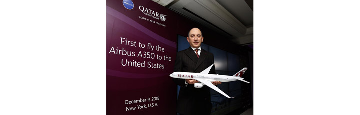 Qatar Airways Group Chief Executive, His Excellency Mr. Akbar Al Baker celebrates landing the first Airbus A350 in the US.