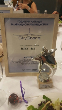 """Wizz Air – winner in the """"Sky Budget Star 2015"""" category"""