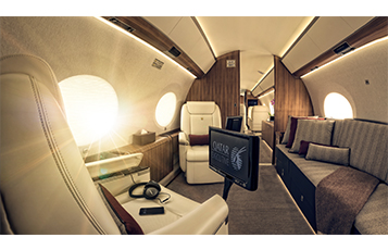 The spacious state-of-the-art aircraft has a two-cabin configuration and seats up to 13 passengers.