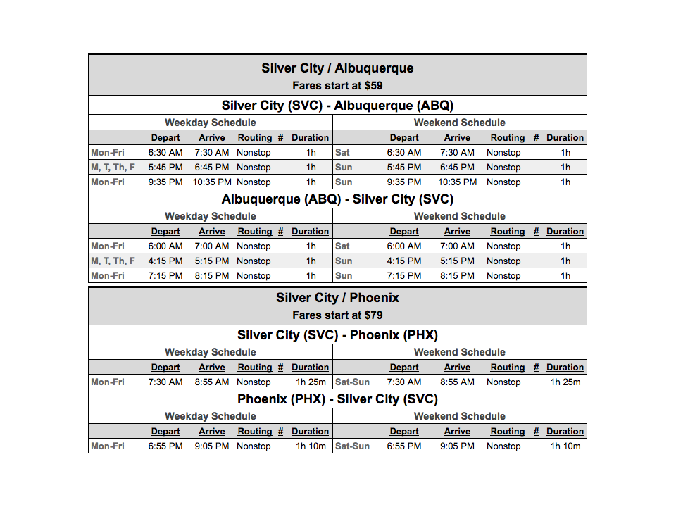 Boutique Air released summer schedule for flights from Silver CIty, NM to Albuquerque, NM and Phoenix, AZ
