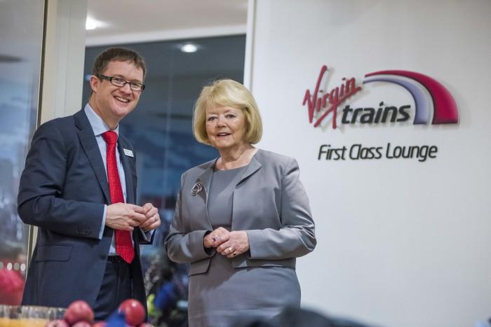 Hearts director Ann Budge opened Virgin Trains' First Class Lounge at Edinburgh Waverley
