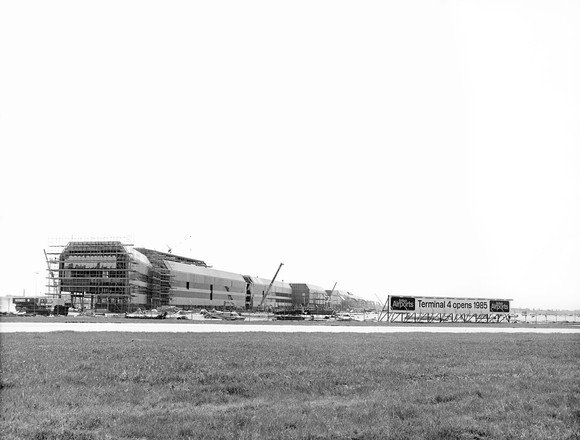 Heathrow Airport, construction of Terminal 4, 1980s. Image ref XHHE00092, orphan works