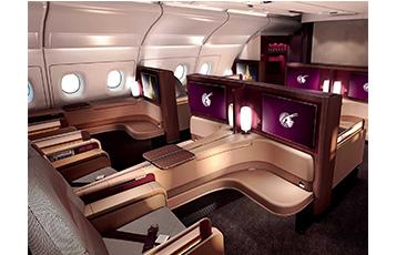 Qatar Airways' First Class cabin on board the A380