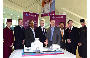Pictured with a celebratory cake replicating the iconic Museum of Islamic Art in Doha are, left to right; Mr. Richard Oliver, Qatar Airways Country Manager U.K. & Ireland; His Excellency Mr. Ajay Sharma, U.K Ambassador to Qatar; Mr. Paul Kehoe, Chief Executive Officer of Birmingham Airport; Dr. Hugh Dunleavy, Qatar Airways Chief Commercial Officer; His Excellency Mr. Hamad Al Muftah, Qatari Deputy Ambassador to the U.K. and Mr. Jonathan Harding, Qatar Airways Senior Vice President NSW Europe.