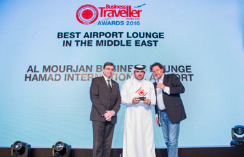 Mr. Abdulaziz Al Mass (centre), Vice President, Commercial and Marketing at Qatar Airways received the award of Best Airport Lounge in the Middle East