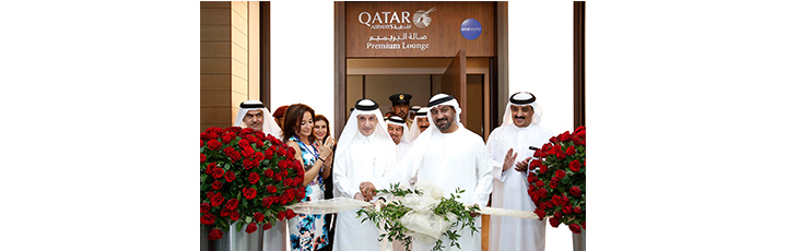 His Highness Sheikh Ahmed bin Saeed Al Maktoum (centre right) and Qatar Airways' Group Chief Executive H.E. Mr. Akbar Al Baker (centre left), officially open Qatar Airways' Premium Lounge at Dubai international Airport