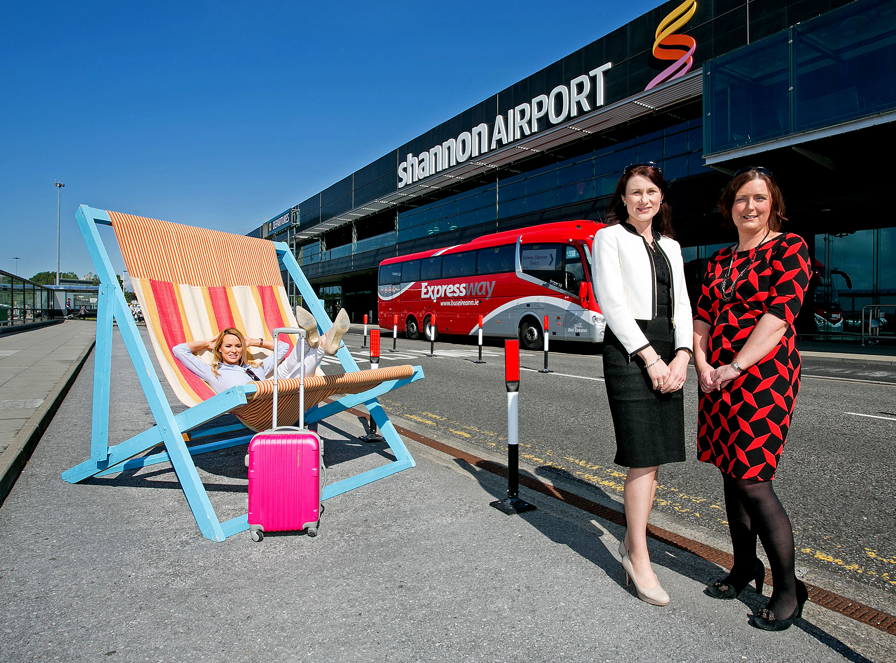 Kellie McGrath,Portumna Co Galway ( originally Oola Co Limerick) Mary Considine, Acting CEO Shannon Group and Miriam Flynn, Regional Manager South West Bus Eireann.Pic Arthur Ellis.