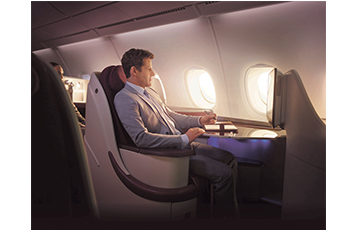 The A380 provides outstanding levels of comfort in both Business and Economy Class
