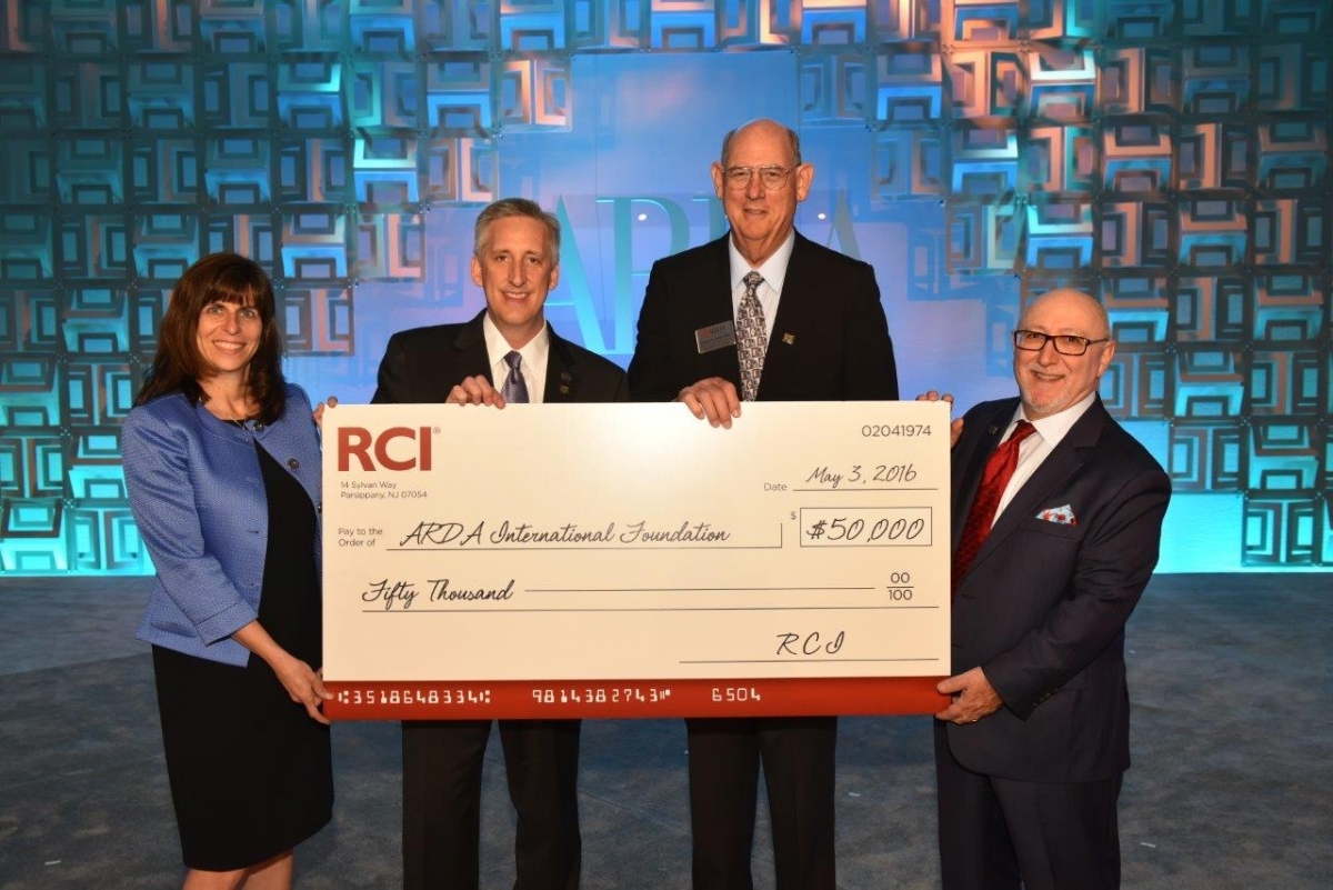 RCI presented the ARDA International Foundation with donation of $50,000 USD to support industry research and education programs