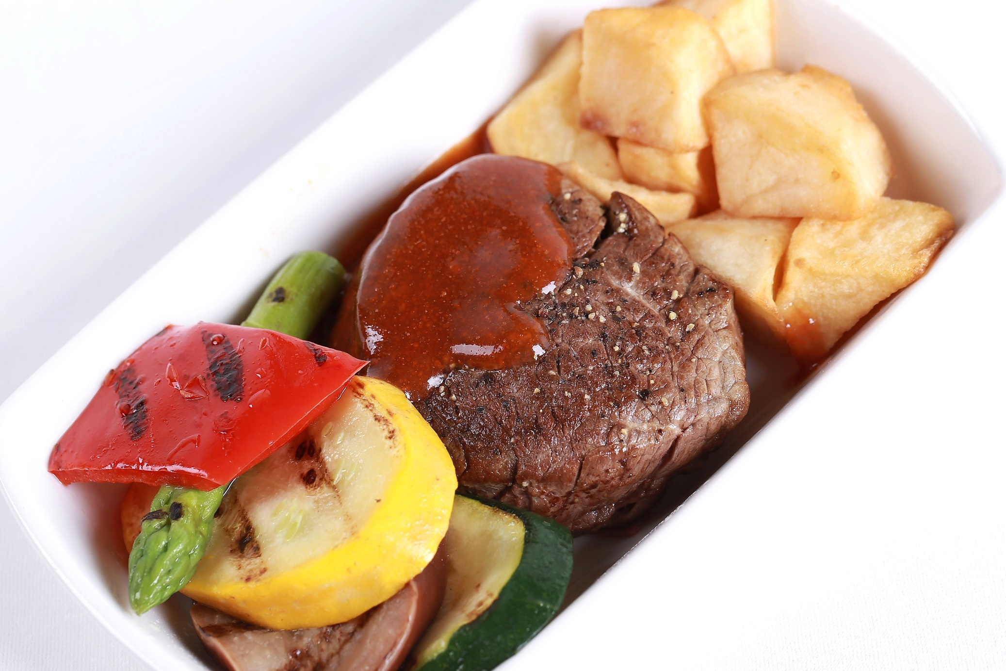 Grilled Australian beef tenderloin, roasted seasonal vegetables