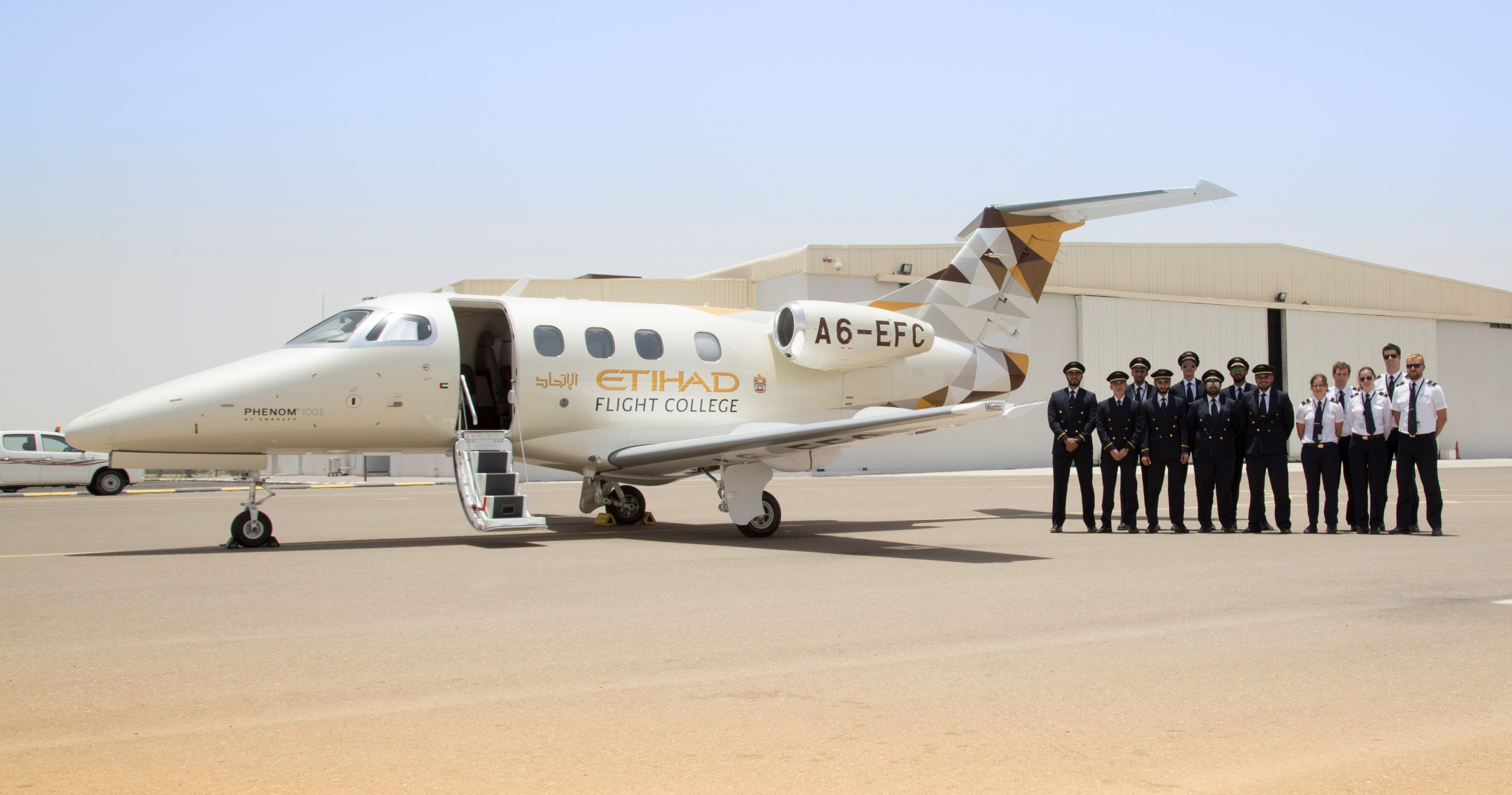 Etihad Flight College takes delivery of its first Phenom 100E from Embraer Executive Jets