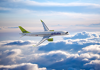 CS300 aircraft in airBaltic's livery