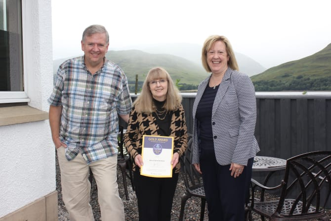 John and Heather Vernon are pictured with Kirsty Ferguson, Regional Quality and Tourism Manager at VisitScotland