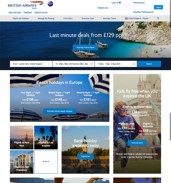 British Airways launches brand new homepage and flight booking process for customers
