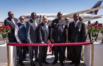 Qatar Airways senior management team with Namibian dignitaries and Ambassadors, pictured following the launch of the airline's inaugural flight to Namibia.